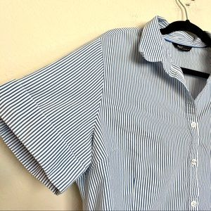 GEORGE blouse striped blue white collared size XL